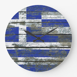 Greek Flag on Rough Wood Boards Effect Large Clock