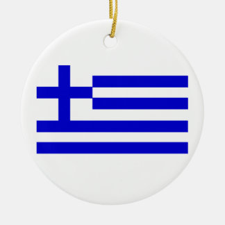 Greek Flag Round Ceramic Decoration
