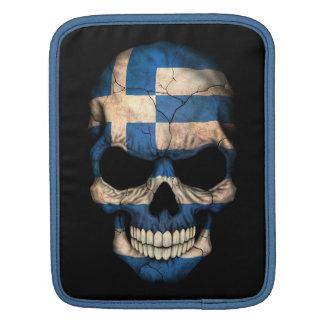 Greek Flag Skull on Black iPad Sleeve