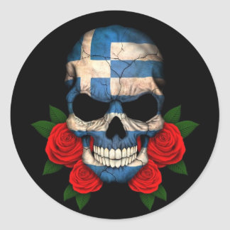 Greek Flag Skull with Red Roses Classic Round Sticker