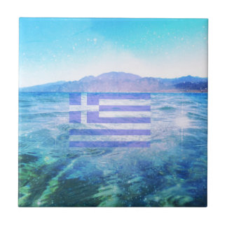 GREEK FLAG SMALL SQUARE TILE