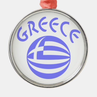 Greek Flag Sphere Silver-Colored Round Decoration
