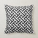 Greek Geometric Pattern Black and White Cushion