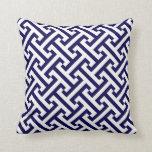 Greek Geometric Pattern Cobalt Blue and White Cushion