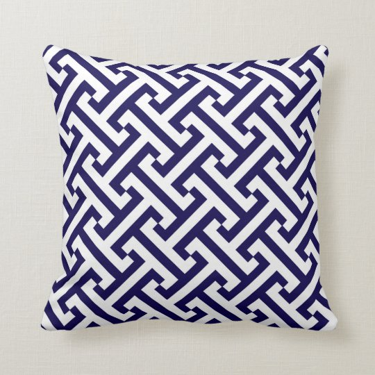 Greek Geometric Pattern Cobalt Blue and White Throw