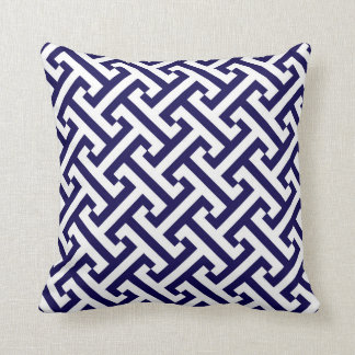 Greek Geometric Pattern Cobalt Blue and White Throw Pillow