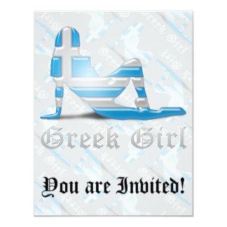 Greek Girl Silhouette Flag 11 Cm X 14 Cm Invitation Card