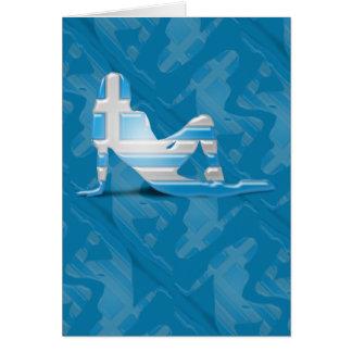 Greek Girl Silhouette Flag Greeting Card