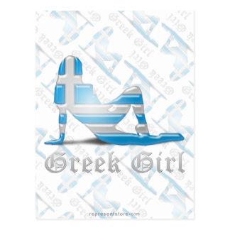 Greek Girl Silhouette Flag Postcard