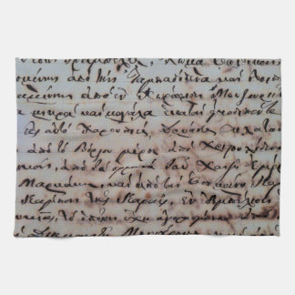 greek greece ancient hand writing text letters ink tea towel