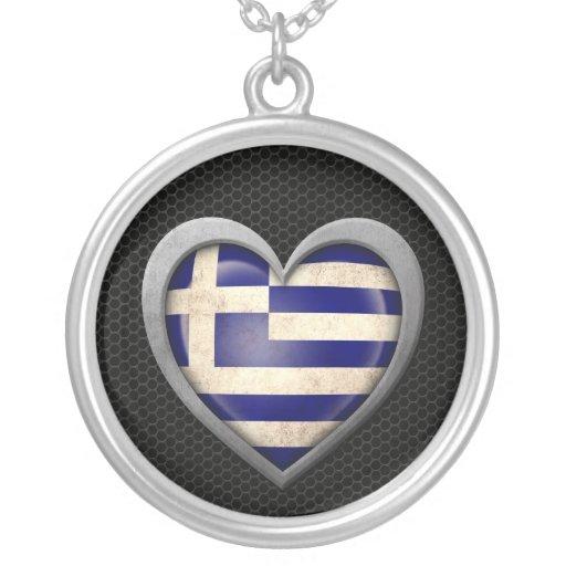 Greek Heart Flag Steel Mesh Effect Necklace