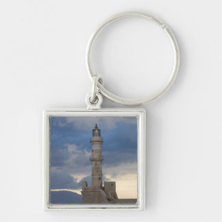 Greek Island of Crete and old town of Chania 2 Silver-Colored Square Key Ring