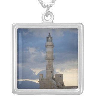Greek Island of Crete and old town of Chania 2 Silver Plated Necklace