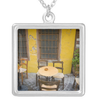 Greek Island of Crete and old town of Chania 3 Square Pendant Necklace
