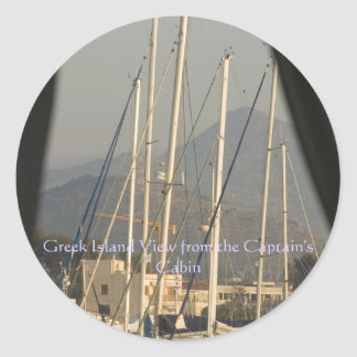 Greek Island View from the Captain's ... Classic Round Sticker