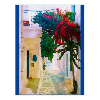 Greek Island Village Street Postcard