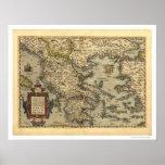 Greek Islands Map Ortelius 1570 Poster