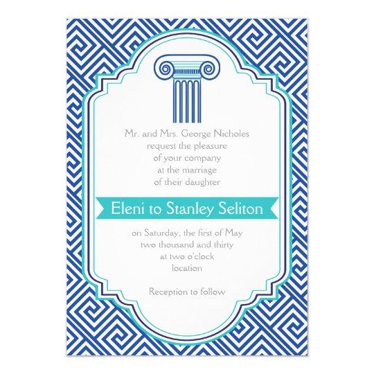 Greek key and aqua, blue column Grecian wedding