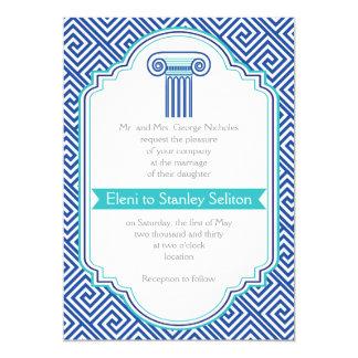 Greek key and aqua, blue column Grecian wedding 13 Cm X 18 Cm Invitation Card