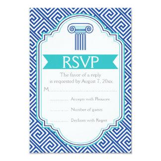 Greek key and aqua, blue column wedding RSVP 9 Cm X 13 Cm Invitation Card