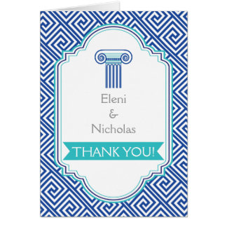 Greek key and aqua blue column wedding Thank You Card