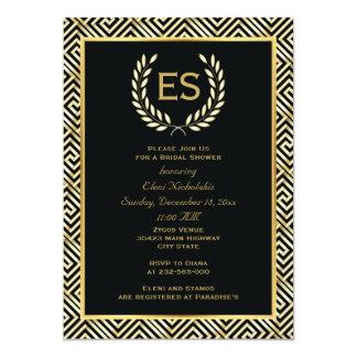Greek key and laurel wreath wedding bridal shower 13 cm x 18 cm invitation card