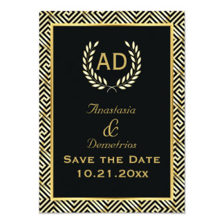Greek key and laurel wreath wedding Save the Date 11 Cm X 16 Cm Invitation Card