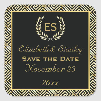 Greek key and laurel wreath wedding Save the Date Stickers