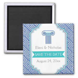 Greek key & aqua blue column wedding Save the Date Square Magnet