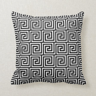 Greek Key, black and white Cushion