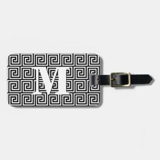 Greek Key, black and white Luggage Tag