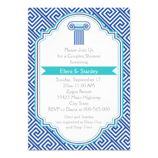 Greek key & blue column couples wedding shower 13 cm x 18 cm invitation card