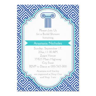 Greek key & blue column wedding bridal shower 5x7 paper invitation card