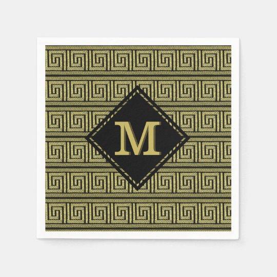 Greek Key Classic Design In Golds & Black