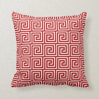 Greek Key, deep red and white Cushion