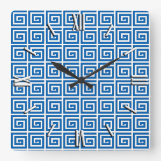 Greek Key design - blue and white Square Wall Clock