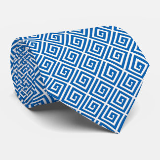 Greek Key design - blue and white Tie