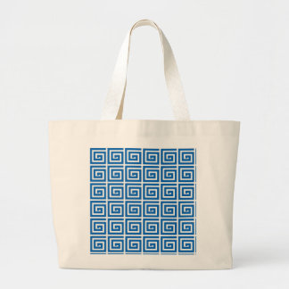 Greek Key design - blue and white Canvas Bags