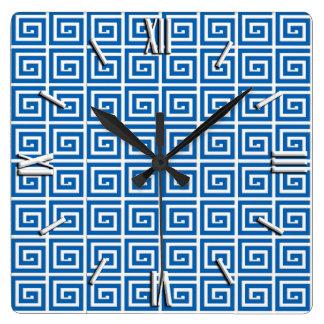Greek Key design - blue and white Wallclocks