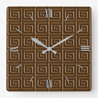 Greek Key design - dark chocolate Square Wall Clock