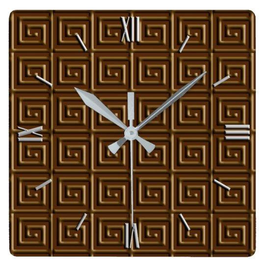 Greek Key design - dark chocolate Square Wall