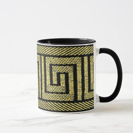Greek Key Design In Golds & Black Mug
