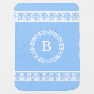 Greek Key Design Monogram Baby Blanket