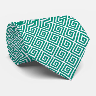 Greek Key design - teal and white Tie