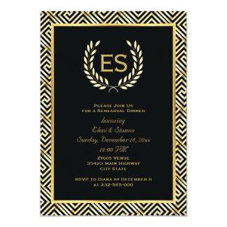 Greek key & laurel wreath wedding rehearsal dinner 13 cm x 18 cm invitation card