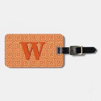 Greek Key, mandarin orange Luggage Tag