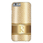 Greek Key Monogram CHOOSE YOUR COLOR   gold foil Barely There iPhone 6 Case
