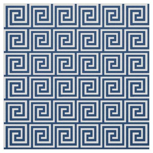 Greek Key, navy blue and white Fabric