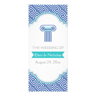 Greek key pattern and blue column wedding program 10 cm x 23 cm rack card