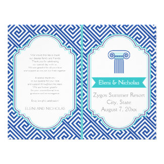 Greek key pattern and blue column wedding program 21.5 cm x 28 cm flyer